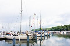 Free Sopot/Poland - 2020: Yacht Parking In Harbor, Harbor Yacht Club.  Boats Moored In Bay In Rainy Weather. Stock Images - 183771964