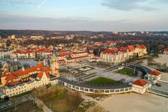 Sopot, Poland - April 3, 2019: Center of Sopot captured with a Drone on spring royalty free stock photography