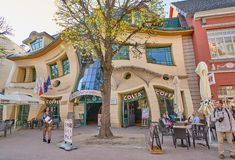 SOPOT, POLAND - APRIL 29, 2018: Crooked little house Krzywy Dom. Ek on 29 April 2018 in Sopot, Poland. The Crooked House is an irregularly-shaped building. 1 of Stock Photos