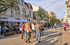 SOPOT, POLAND - APRIL 29, 2018: The main street leading to the P Stock Photography