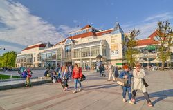 SOPOT, POLAND - APRIL 29, 2018: Spa house on 29 April 2018 in So. Pot, Poland. The spa house is located near the Pier and is a very iconic building Stock Images