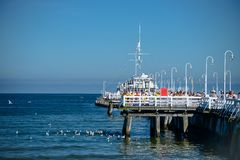 Sopot, Poland August 24, 2016. A crowd of people on the popular pier in Sopot on the main promenade of the city. Sopot, Poland August 24, 2016. A crowd of stock photography
