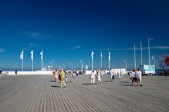 Sopot, Poland August 24, 2016. A crowd of people on the popular pier in Sopot on the main promenade of the city. Sopot, Poland August 24, 2016. A crowd of stock photo