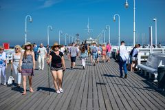 Sopot, Poland August 24, 2016. A crowd of people on the popular pier in Sopot on the main promenade of the city. Sopot, Poland August 24, 2016. A crowd of royalty free stock image