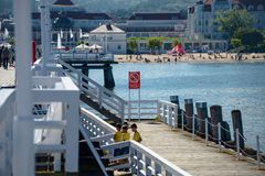 Sopot, Poland August 24, 2016. A crowd of people on the popular pier in Sopot on the main promenade of the city. Sopot, Poland August 24, 2016. A crowd of stock images