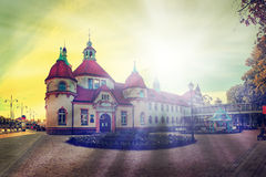 Sopot, Poland. Beautiful achitecture of Sopot near the pier in the sunshine, Poland Stock Photo