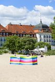 View on famous Grand Hotel close to Baltic Sea, sandy beach, Sopot, Poland. SOPOT, POLAND - JUNE 6, 2018: View on famous Grand Hotel close to Baltic Sea, sandy royalty free stock images