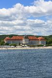 View on famous Grand Hotel close to Baltic Sea, sandy beach, Sopot, Poland. SOPOT, POLAND - JUNE 6, 2018: View on famous Grand Hotel close to Baltic Sea, sandy royalty free stock photo