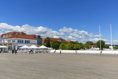 Wooden Sopot pier in sunny summer day, Sopot, Poland. SOPOT, POLAND - JUNE 6, 2018: Wooden Sopot pier in sunny day. It is the longest wooden pier in Europe, 511 Royalty Free Stock Image