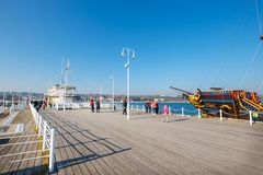 View of the longest wooden pier in Europe. The Sopot Pier was built in 1827 royalty free stock photography