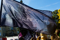 Sopot, Poland, 2016 09 24 - protest against anti-abortion law forced by Polish government. Black flag of non-government organization Dziewuchy Dziewuchom ( royalty free stock images