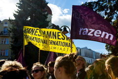Sopot, Poland, 2016 09 24 - protest against anti-abortion law forced by Polish government. Flags of Amnesty International and Razem Party stock image
