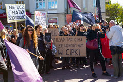 Sopot, Poland, 2016 09 24 - protest against anti-abortion law forced by Polish government. People with banner saying: do not teach mother how to give birth royalty free stock image
