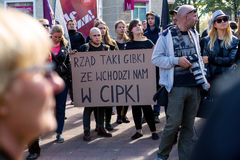 Sopot, Poland, 2016 09 24 - protest against anti-abortion law forced by Polish government. People with banner saying: government so flexible so it enters our royalty free stock photos