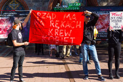 Sopot, Poland, 2016 09 24 - protest against anti-abortion law forced by Polish government. People with banner saying: government have blood of women on hands royalty free stock image