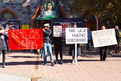 Sopot, Poland, 2016 09 24 - protest against anti-abortion law forced by Polish government. People with banners saying: government have blood of women on hands stock images