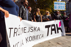 Sopot, Poland, 2016 09 24 - protest against anti-abortion law forced by Polish government. People with banners saying: Theecity womans action and dead i can't royalty free stock photography