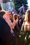 Sopot, Poland, 2016 09 24 - protest against anti-abortion law forced by Polish government. People clapping hands after speech stock images