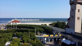 Sopot from bird`s eye view, Poland. Sopot, Poland - September 30, 2017: View of Sopot resort from the bird`s eye view. Car rally in front of pier Molo and lots Royalty Free Stock Photo