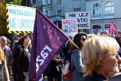 Sopot Polen, 2016 09 24 - protestera mot anti--abort lag fo Royaltyfria Foton