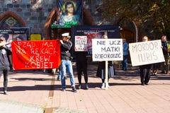 Sopot Polen, 2016 09 24 - protestera mot anti--abort lag fo Arkivbilder