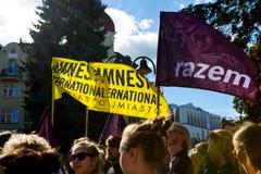 Sopot Polen, 2016 09 24 - protestera mot anti--abort lag fo Fotografering för Bildbyråer