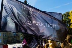 Sopot Polen, 2016 09 24 - protestera mot anti--abort lag fo Royaltyfria Bilder