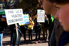 Sopot Polen, 2016 09 24 - protestera mot anti--abort lag fo Royaltyfri Foto