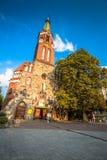 Sopot Polen-September 7,2016: Garrison Church torn, klosterbroder a Arkivbilder