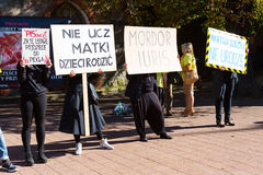 Sopot, Pologne, 2016 09 24 - protestez contre la loi FO d'anti-avortement Photo stock