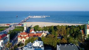 Sopot resort, Poland.  Aerial video. stock video