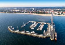 Sopot resort in Poland with pier, marina yachts, ship, beach stock photo