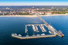 Sopot resort in Poland with pier, marina yachts, ship and beach stock photo