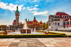 Sopot in sunshine. Beautiful architecture of Sopot at morning, Poland Royalty Free Stock Image
