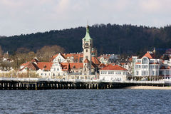 Sopot. View from the sea in Sopot Pier Lighthouse royalty free stock photo