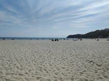 Sopot vita sandstränder arkivfoto