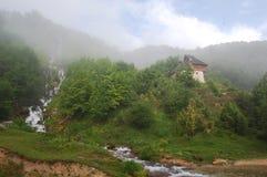 Waterfall of Sopotnica River, Serbia. The Sopotnica River Waterfall in the fog located on JADOVNIK MOUNTAIN, SERBIA royalty free stock photos