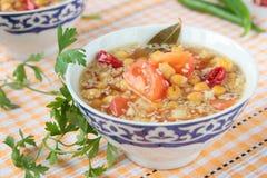 Soppa av kikärtar och tomater Royaltyfri Foto
