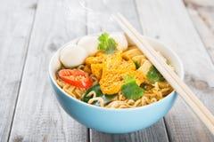 Soppa för ögonblickliga nudlar för curry Arkivbild