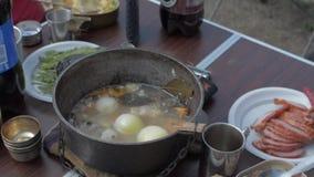 Soppa för den nya fisken är kokande på en brand sätta någon fisk i en bunke lager videofilmer