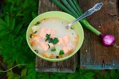 Soppa för fisksoppafisk i natur på en gammal trätabell Royaltyfri Fotografi