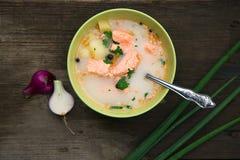 Soppa för fisksoppafisk i natur på en gammal trätabell Royaltyfri Bild