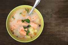 Soppa för fisksoppafisk i natur på en gammal trätabell Royaltyfri Foto