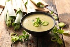 Soppa för grönsaksoppapurjolök royaltyfria bilder
