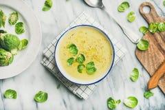 Soppa för kräm för grönsaken för Bryssel groddar över grå färger marmorerar bakgrund arkivfoto