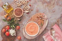 Soppa för röd lins med kikärtar och quinoaen Arkivfoto