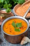 Soppa för röd lins med peppar och kryddor i kastrullen, lodlinje Royaltyfri Fotografi
