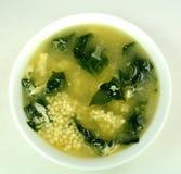 Soppa för spenatäggdroppe Royaltyfri Fotografi