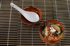 Soppa för sushimenysushi med olika variationer av fisken och champinjoner Arkivfoto