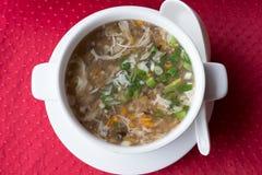 Soppa för traditionell kines med nötkött och västra sjönötkött för grönsaker i en vit platta på en röd bakgrund Top beskådar Royaltyfri Foto